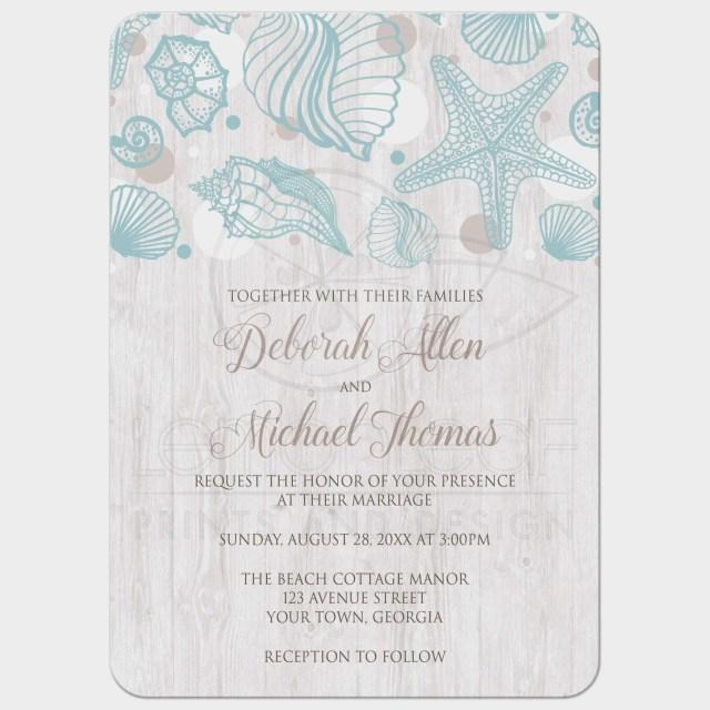 Seashell Wedding Invitations Wedding Invitations Seashell Whitewashed Wood Beach Seashell