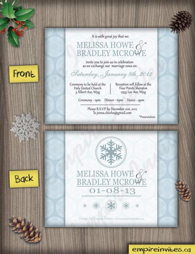 Snowflake Themed Wedding Invitations Custom Winter Wedding Invitations Canada Empire Invites