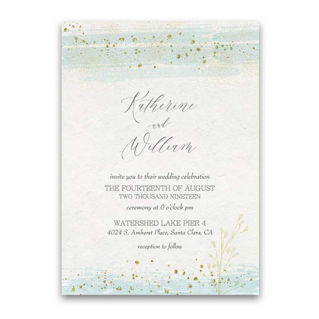 Sparkle Wedding Invitations Wedding Invitations Mint Gold Watercolor Modern Sparkle