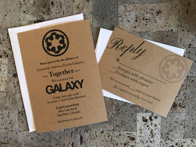 Star Wars Wedding Invitations Rustic Star Wars Themed Wedding Invitation And Rsvp Card Set Etsy
