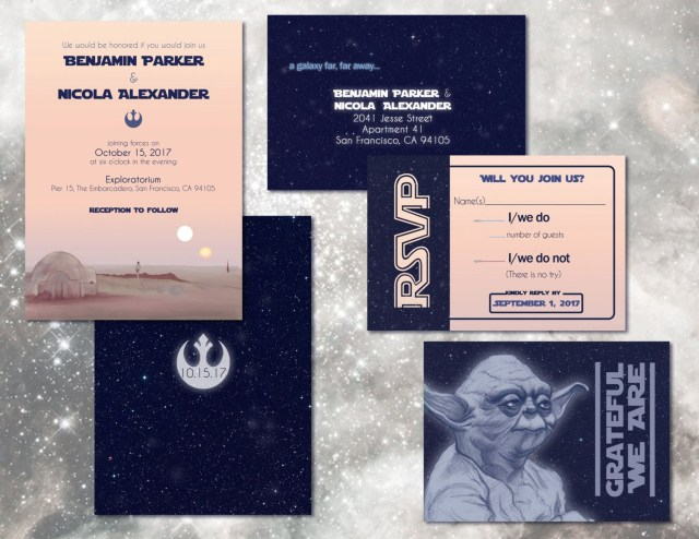 Star Wars Wedding Invitations Star Wars Wedding Invitations Custom Digital Invitation Set