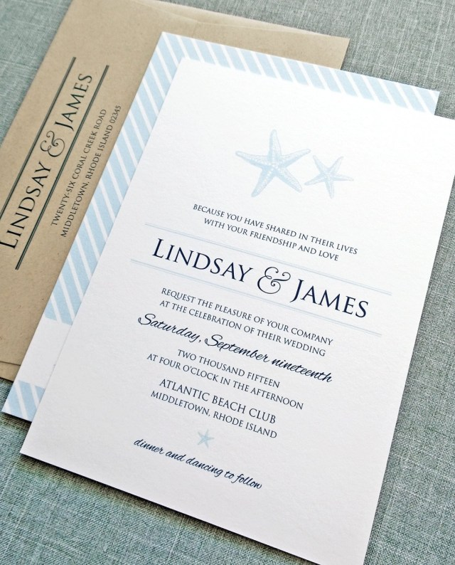 Starfish Wedding Invitations Lindsay Starfish Wedding Invitation Sample Etsy