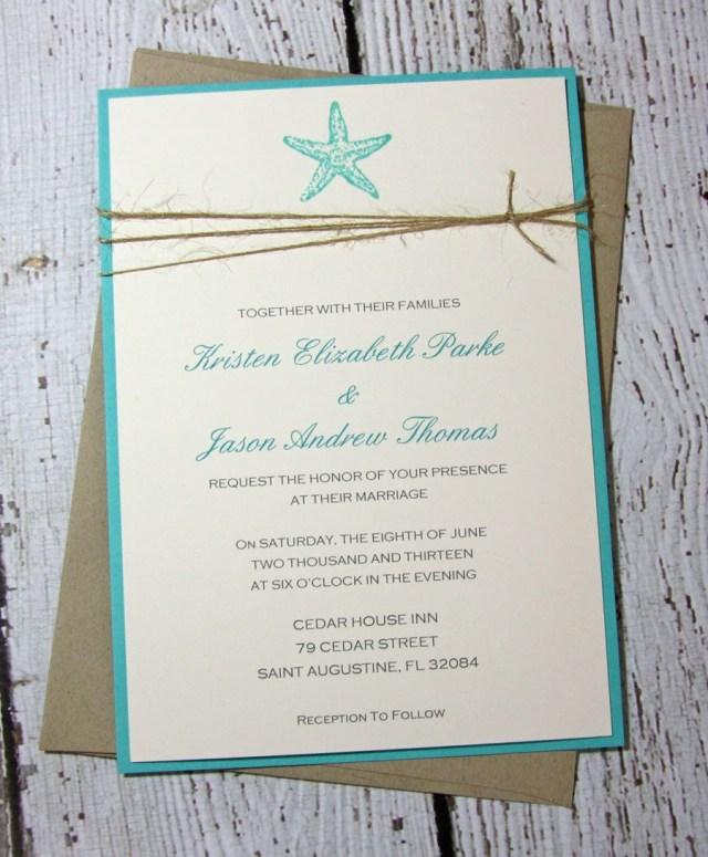 Starfish Wedding Invitations Sample Starfish Wedding Invitationsbeach Toriscustomcreations