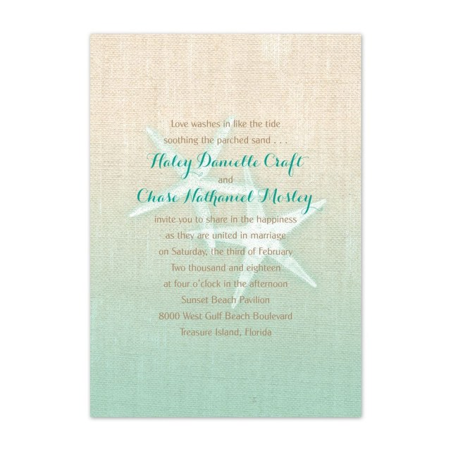 Starfish Wedding Invitations Starfish And Burlap Invitation Anns Bridal Bargains