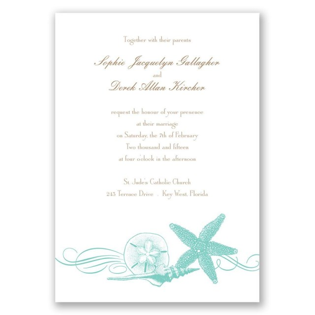 Starfish Wedding Invitations Starfish And Seashells Invitation Anns Bridal Bargains