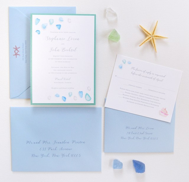 Starfish Wedding Invitations Watercolor Sea Glass Beach Wedding Invitations Only At Mospens Studio