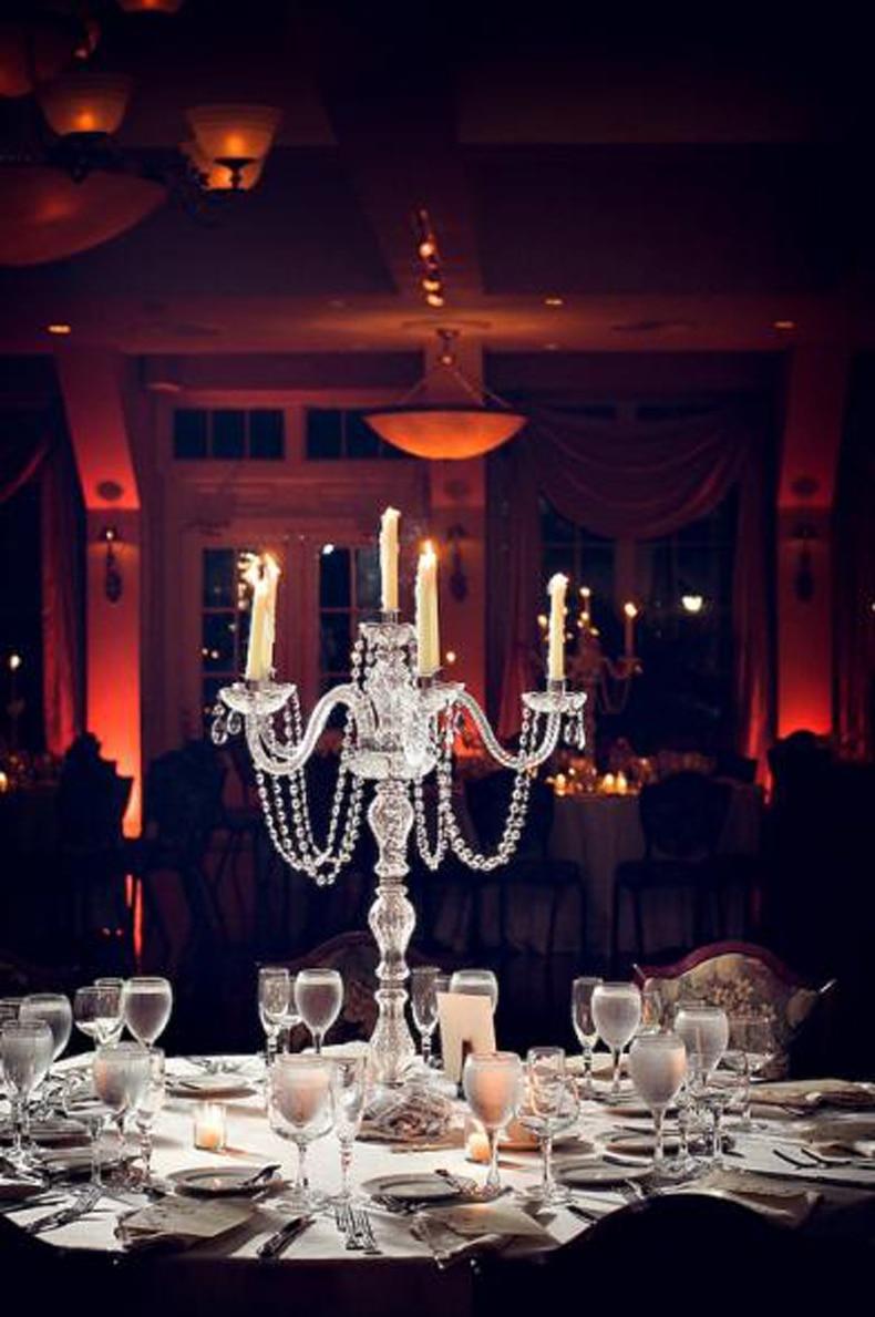 Table Lights Wedding Big Chrome 5 Arm Candlestick Light Restaurant Crystal Table Lamp