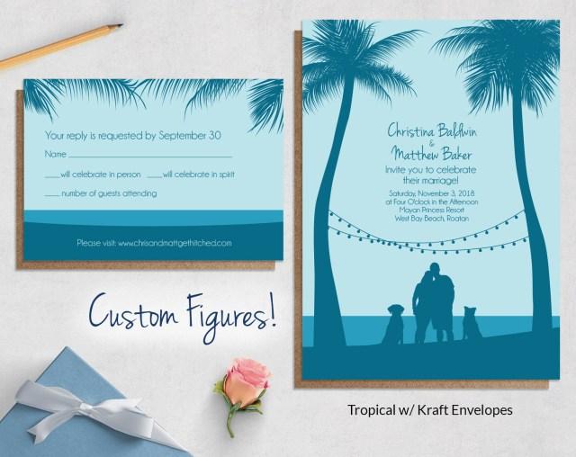 Tropical Wedding Invitations Custom Drawing Beach Wedding Invitations Wild Blue Weddings
