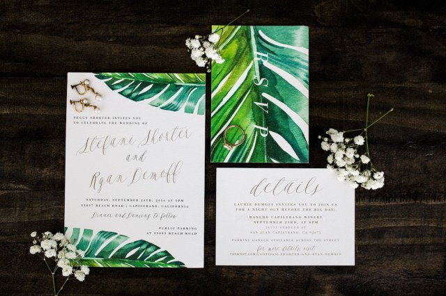 Tropical Wedding Invitations Tropical Capistrano Beach Wedding Southern California Wedding