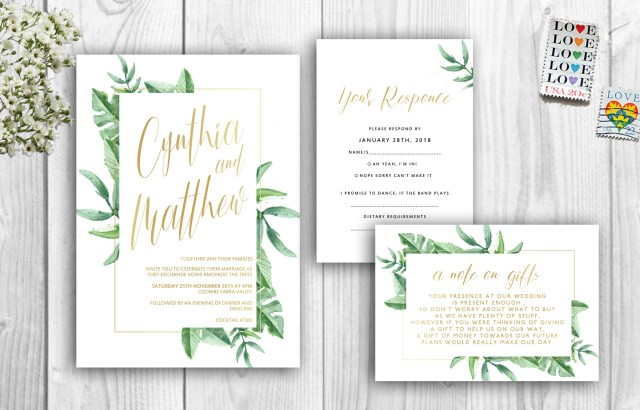 Tropical Wedding Invitations Tropical Wedding Invitations Green And Gold