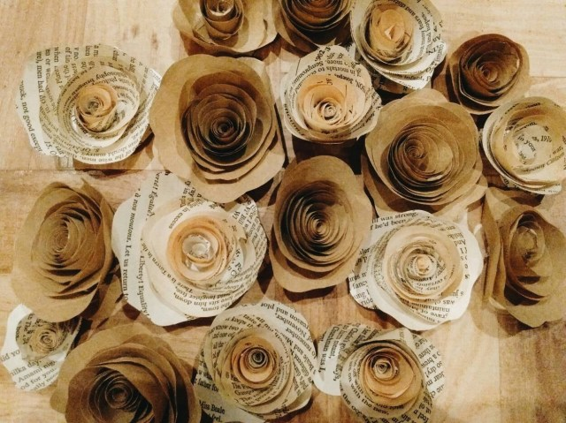 Upcycled Wedding Decorations 20 Rustic Paper Roses Wedding Decorations Vintage Wedding Etsy