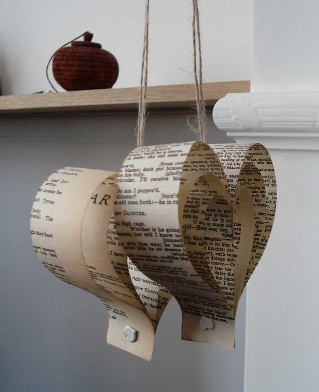 Upcycled Wedding Decorations Shakespeare Wedding Decorations 10 Paper Hearts Upcycled Etsy
