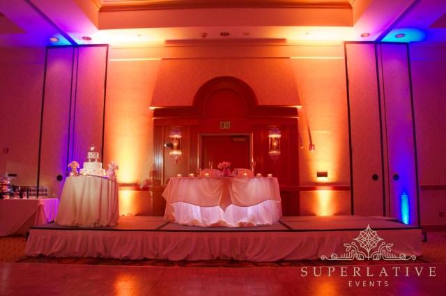 Uplighting Wedding Diy Two Color Uplighting Amber Blue With Cake Spotlight