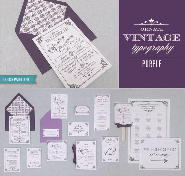 Vintage Wedding Invitation Templates Diy Vintage Wedding Invitation Suite In Purple