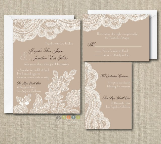 Vintage Wedding Invitations 100 Personalized Custom Rustic Vintage Lace Wedding Invitations Set