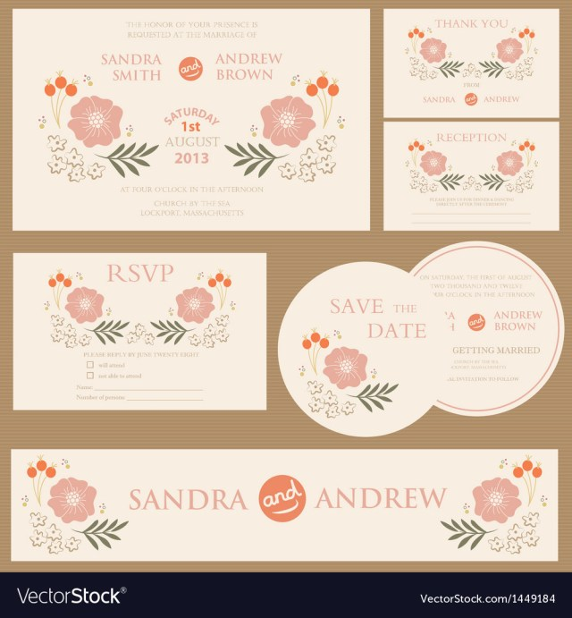 Vintage Wedding Invitations Beautiful Vintage Wedding Invitation Cards Vector Image