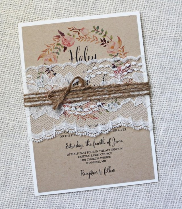 Vintage Wedding Invitations Rustic Wedding Invitation Lace Wedding Invitation Vintage Wedding