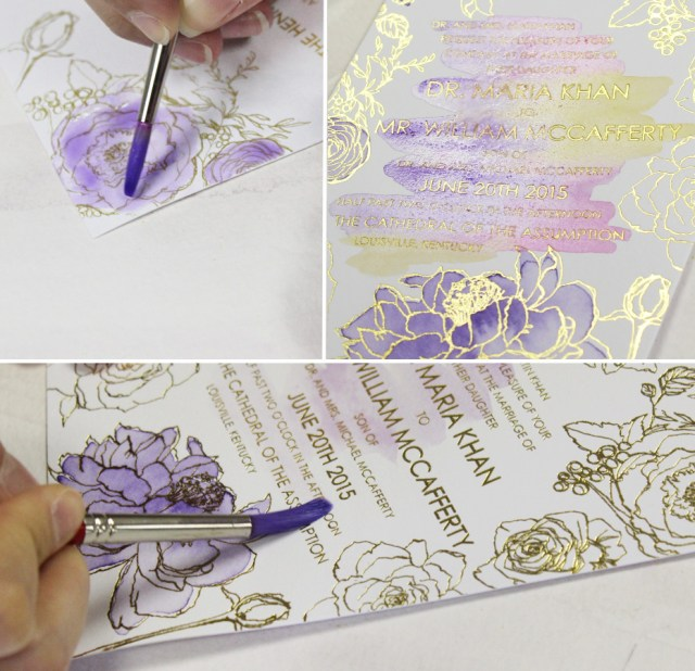 Watercolor Wedding Invitations A Peek Into The Studio Purple Glam Watercolor Wedding Invitations