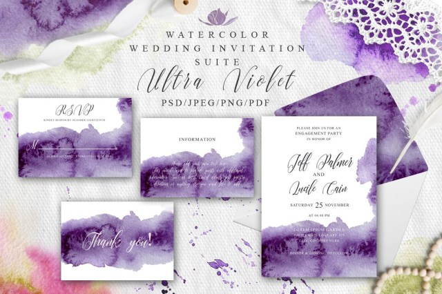 Watercolor Wedding Invitations Ultra Violet Watercolor Wedding Invitation Suite
