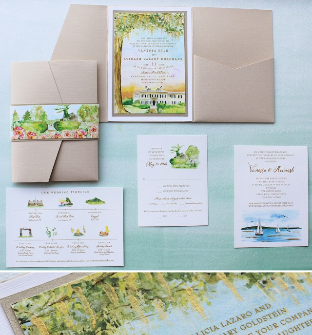 Watercolor Wedding Invitations Watercolor Venue Illustration Wedding Invitation Momental