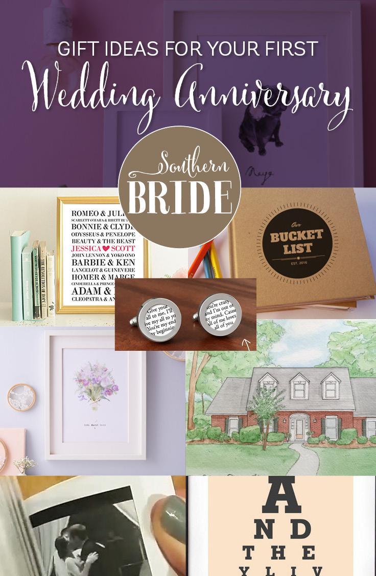 Wedding Anniversary Ideas 1st Wedding Anniversary Present Ideas Southern Bride