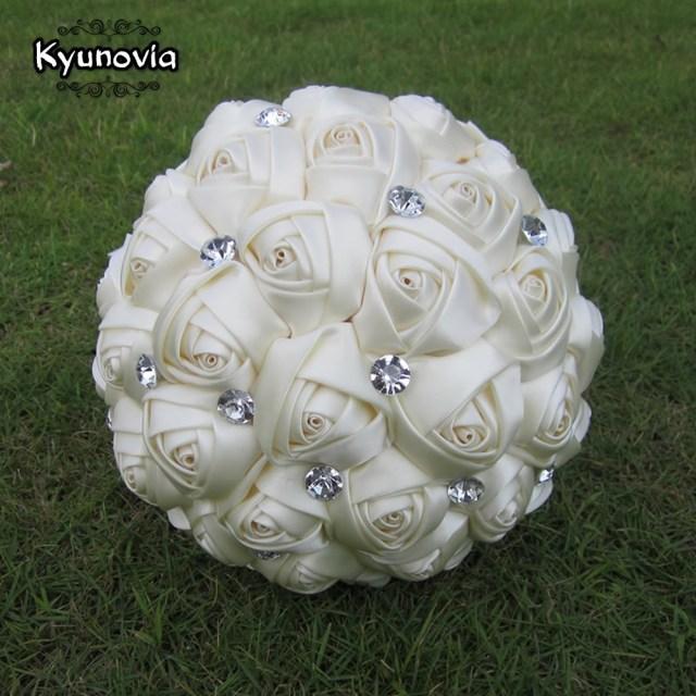 Wedding Bouquets Diy Kyunovia Custom Satin Rose Bouquet Rhinestones Ribbon Rose Wedding