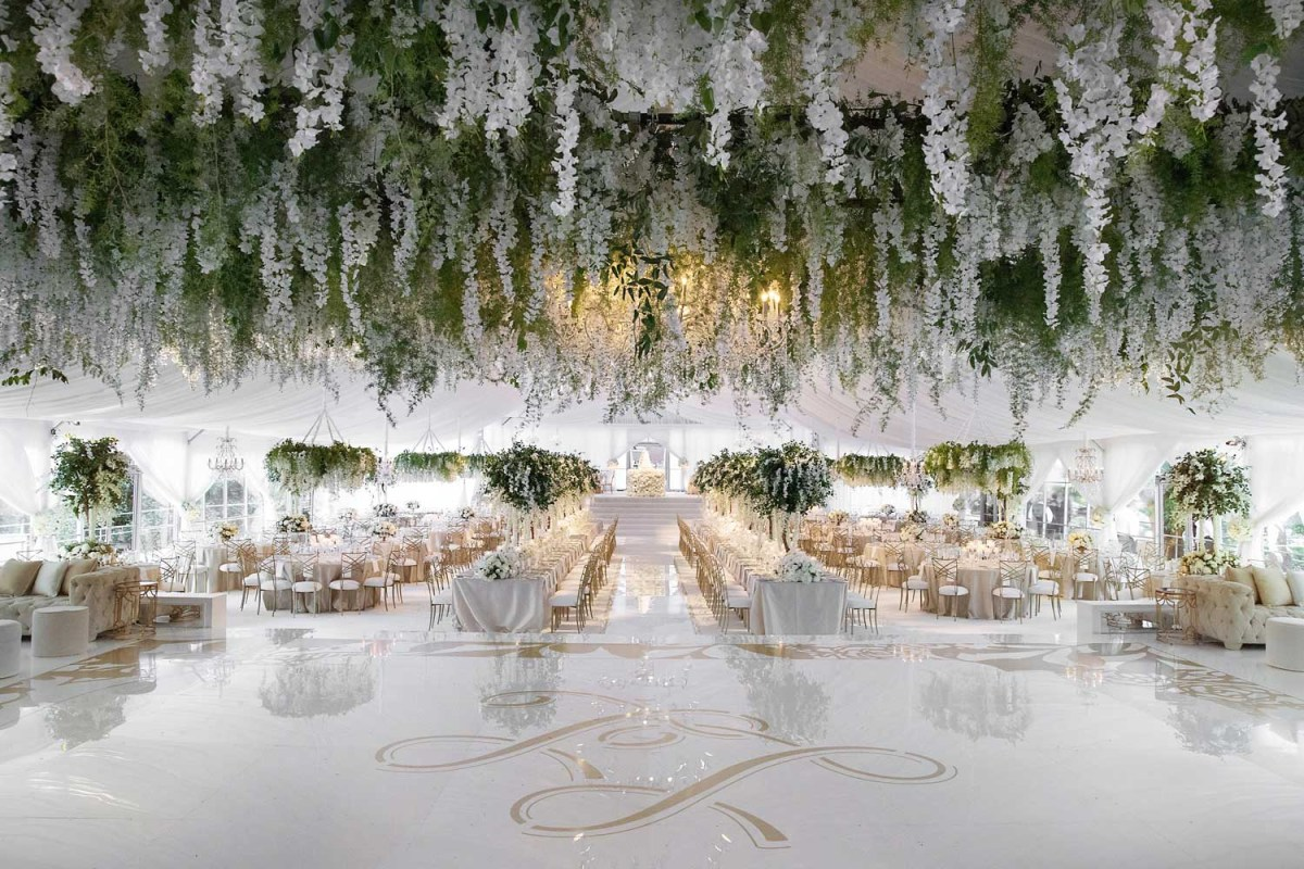 Wedding Ceiling Decorations Wedding Ideas Floral Chandeliers Ceiling Installations Over Dance