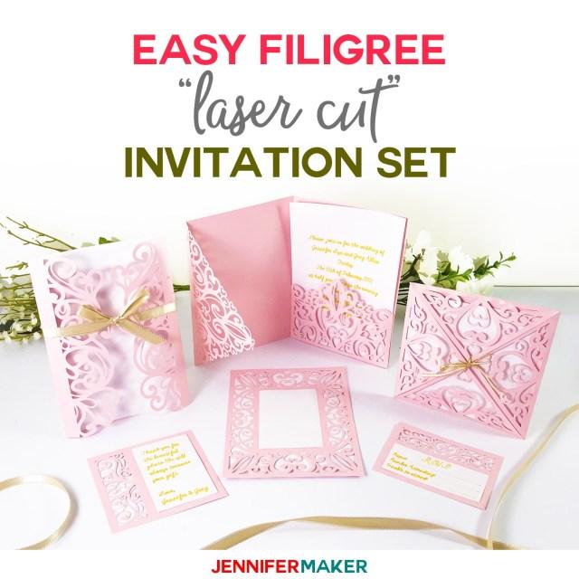 Wedding Cricut Projects Diy Wedding Invitation Templates Free Laser Cut Set Jennifer Maker