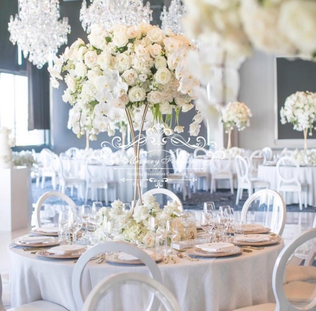 Wedding Decor Floral 10pcslot 80cm Tall Wedding Decoration Table Centerpiece Gold Flower