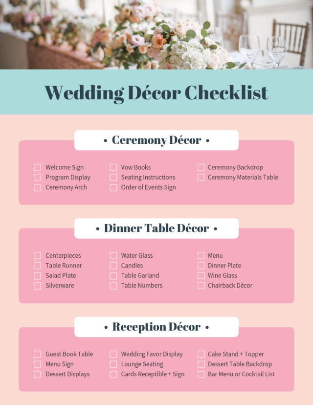 Wedding Decor List Pink Wedding Decor Checklist Template Template Venngage