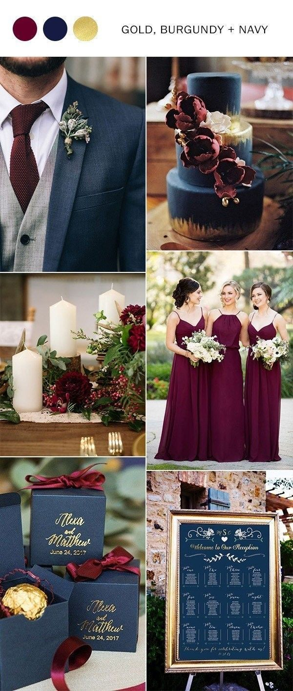Wedding Decorations Colorful Navy Blue Burgundy And Gold Fall Wedding Color Ideas Wedding Ideas