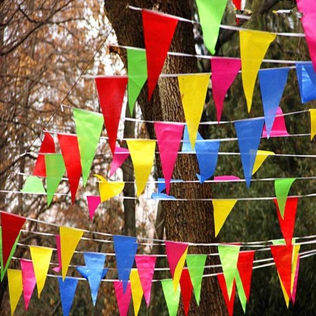 Wedding Decorations Colorful Wedding Festival Pennant String Colorful 80m Triangle Flag Festival