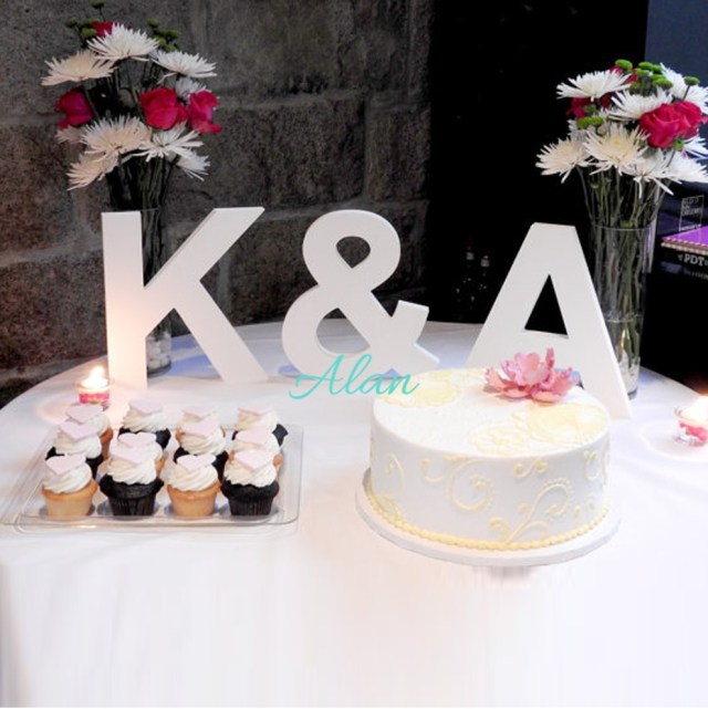 Wedding Initial Decor Wooden Letters Freestanding 3 Piece Initial Set For Wedding Table