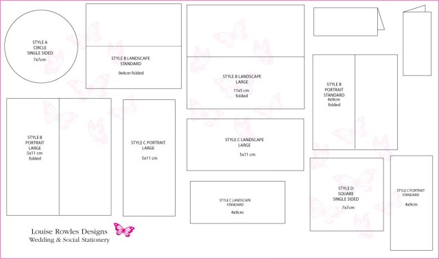 Wedding Invitation Dimensions Card Dimensions Place Cards Sizes Layouts Louise Rowles