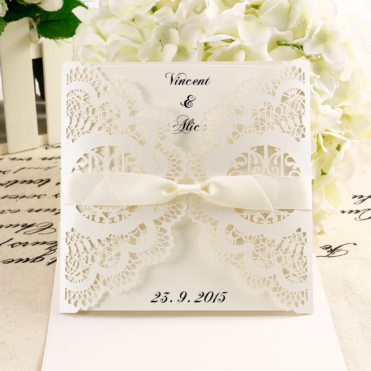 Wedding Invitation Diy 10x Diy Laser Cut Lace Wedding Invitations Card Envelope W Ribbon