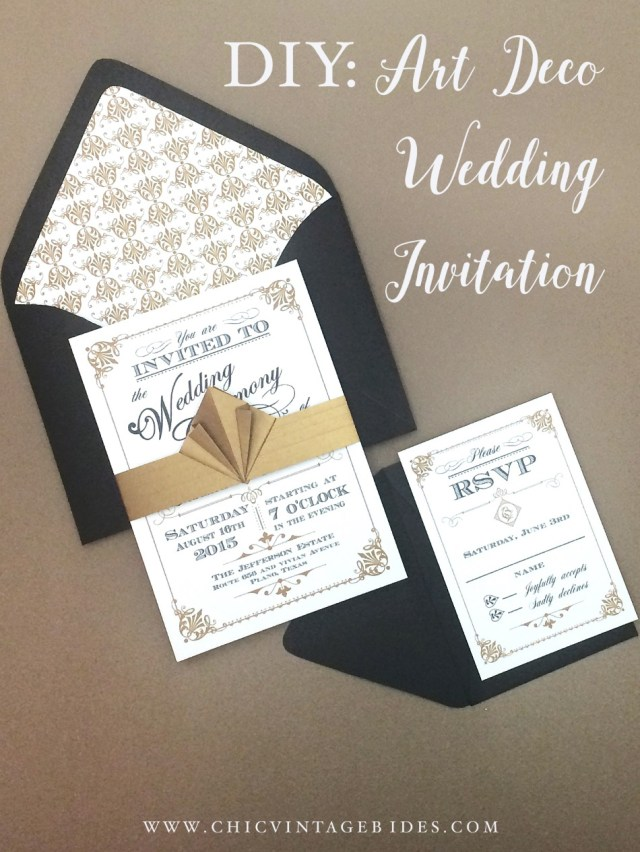 Wedding Invitation Diy Art Deco Wedding Invitation Diy With Download Print Chic Vintage