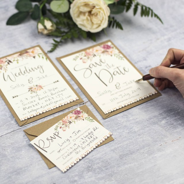 Wedding Invitation Diy Boho Floral Diy Wedding Invitation Set