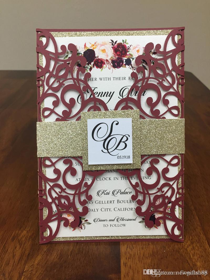 Wedding Invitation Diy Burgundy Lace Wedding Invites With