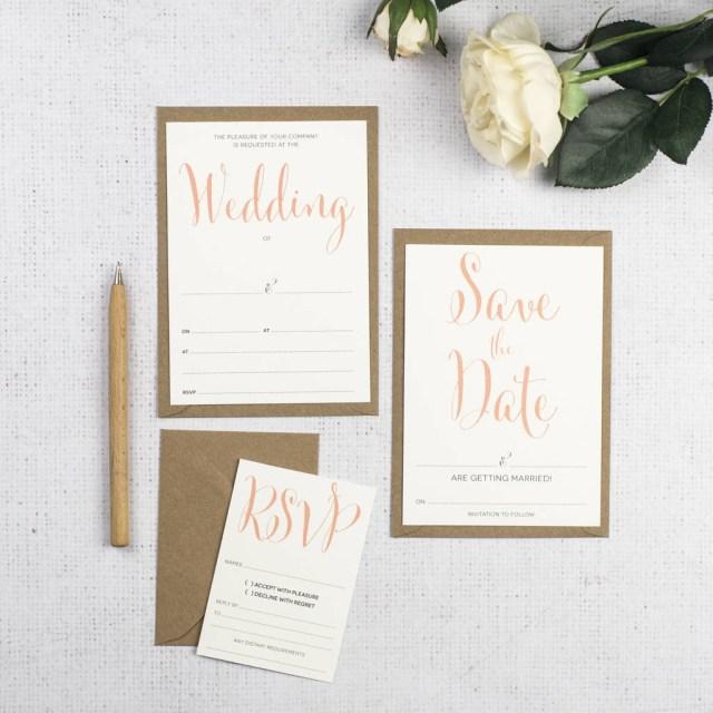 Wedding Invitation Diy Calligraphy Script Diy Wedding Invitation Set
