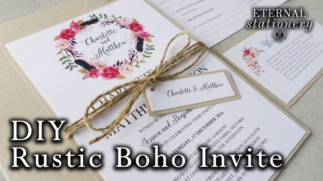 Wedding Invitation Diy How To Make A Rustic Boho Floral Wreath Wedding Invitation Diy