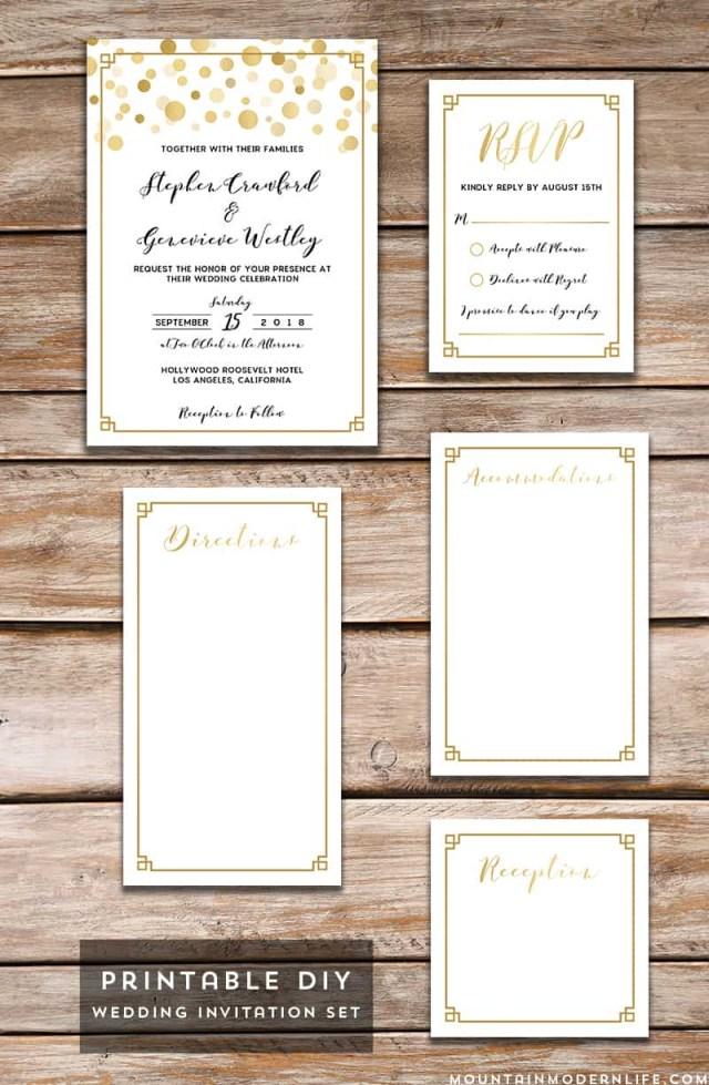 Wedding Invitation Diy Modern Gold Diy Wedding Invitation Set