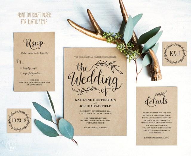 Wedding Invitation Diy Vintage Wedding Invitation Set Printable Wedding Invitation Template Rustic Wedding Invitation Card Kraft Diy Wedding Vw01