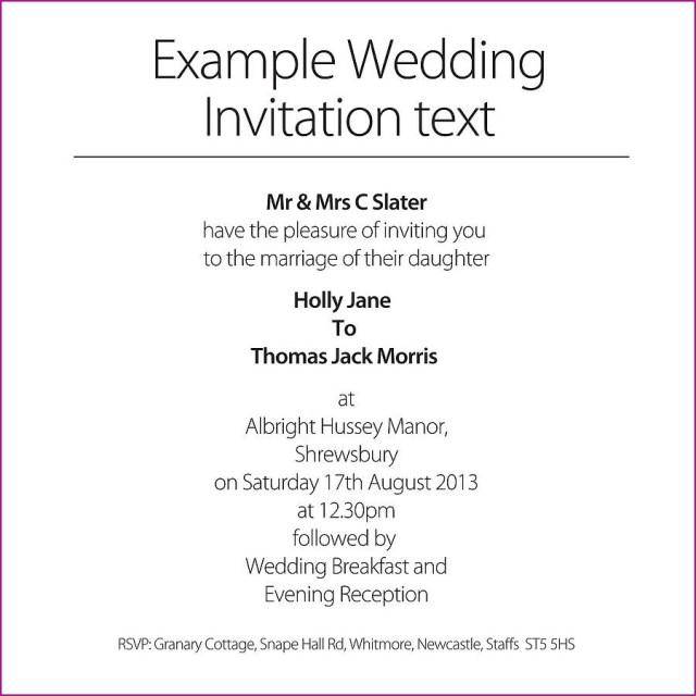 Wedding Invitation Example Wedding Wording Template Idasponderresearchco
