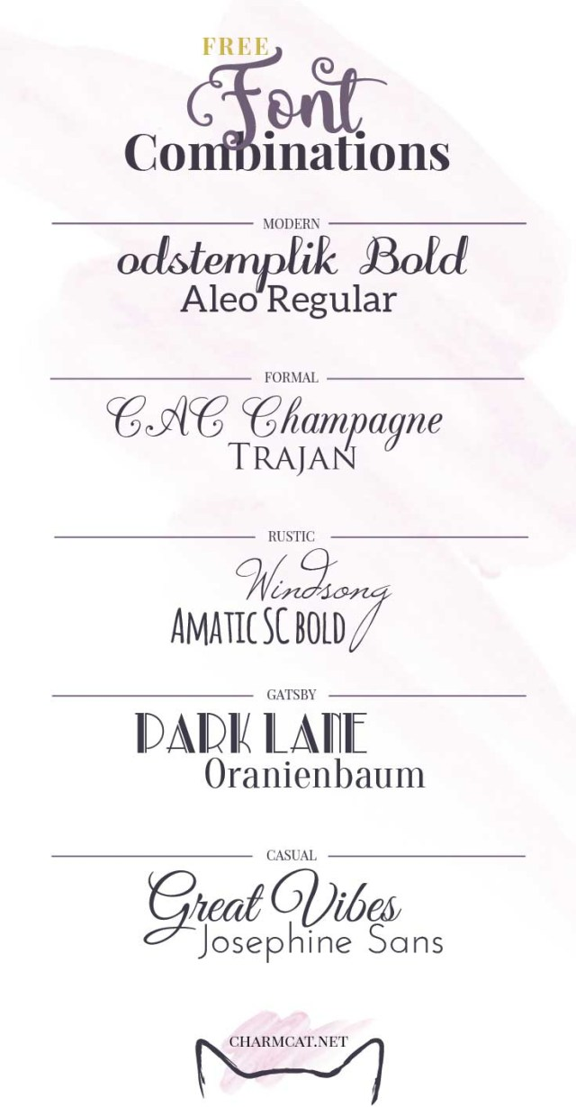 Wedding Invitation Font Five Great Free Font Combinations For Invitations Charmcat Creative