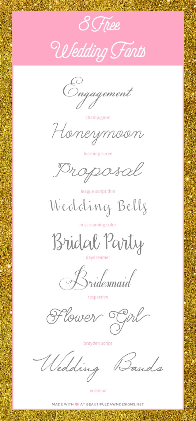 Wedding Invitation Font Free Wedding Fonts Beautiful Dawn Designs