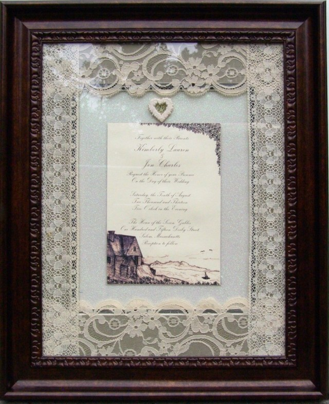 Wedding Invitation Keepsake Custom Made Framed Personalized Wedding Invitation Preservation