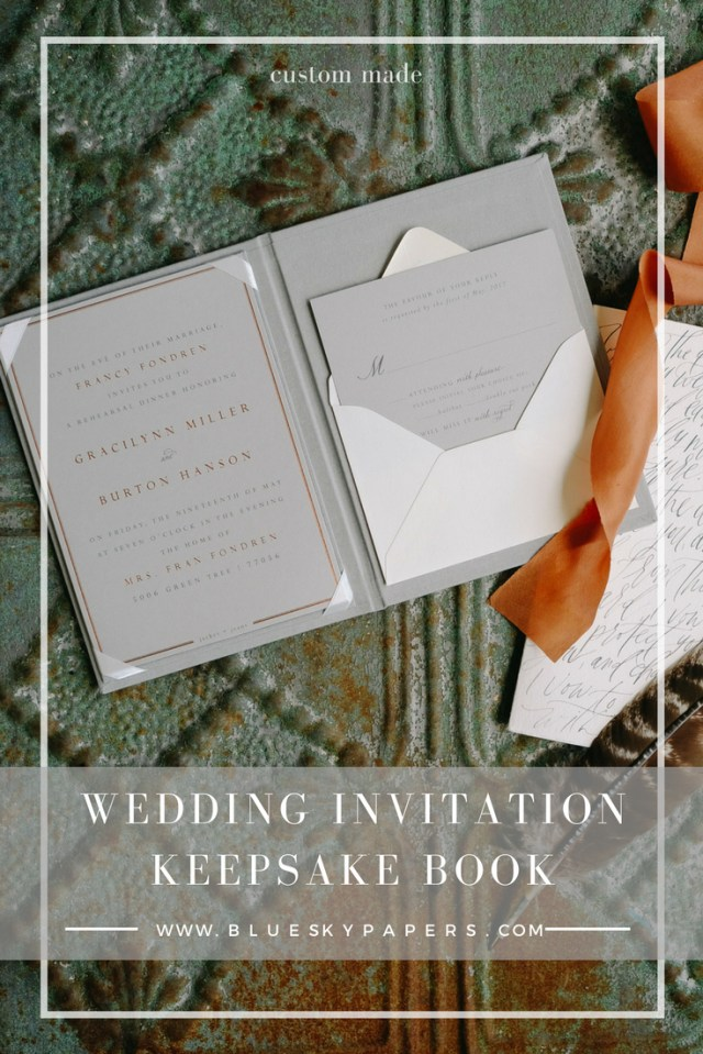 Wedding Invitation Keepsake Wedding Invitation Keepsake Book Custom Made Blue Sky Papers