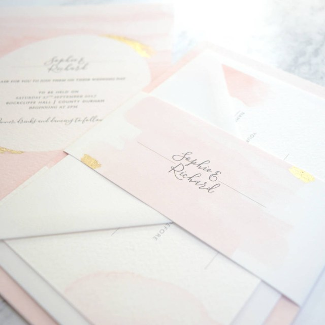 Wedding Invitation Paper Blush Watercolour Wedding Invitation Amanda Michelle Design