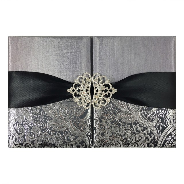 Wedding Invitation Pockets Black Metallic Silver Brocade Wedding Invitation Pocket Folder