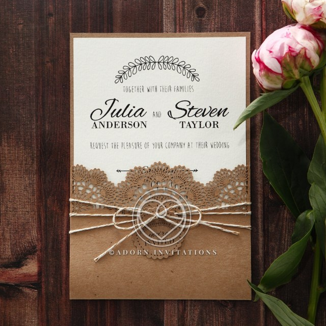 Wedding Invitation Pockets Country Wedding Rustic Twine And Craft Paper Laser Cut